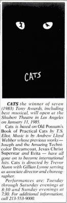 """7 января 1985 - В Лос-Анжелесе (США) состоялась премьера мюзикла """"Кошки"""" (""""Cats"""")"""